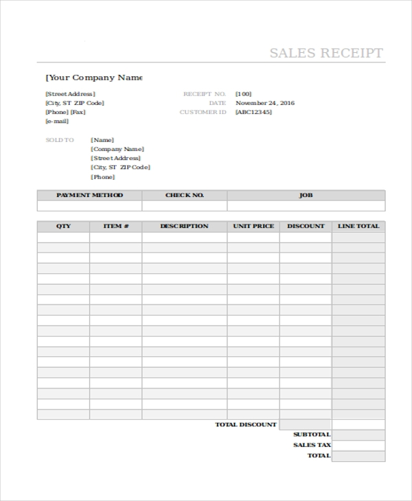 printable sales receipt form in excel