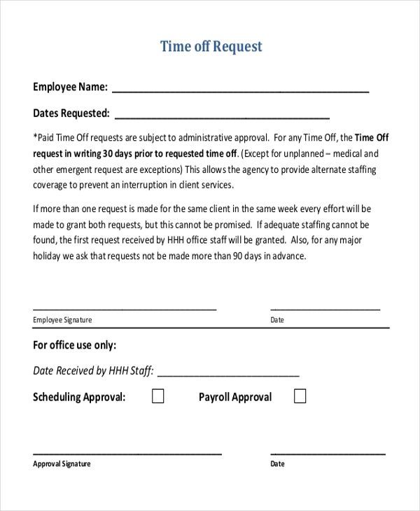 Doc585650 Request off Forms Sample Time Off Request Form 23 – Request off Form