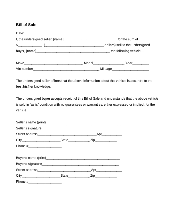 printable business bill of sale