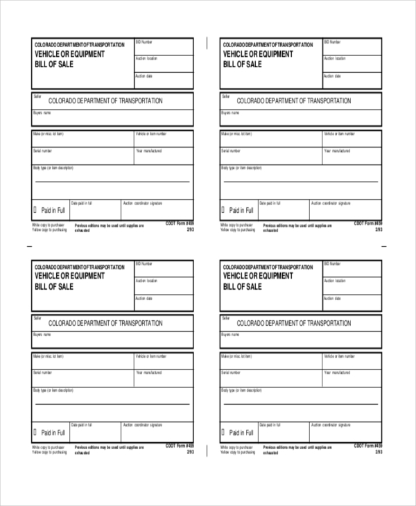 printable equipment bill of sale