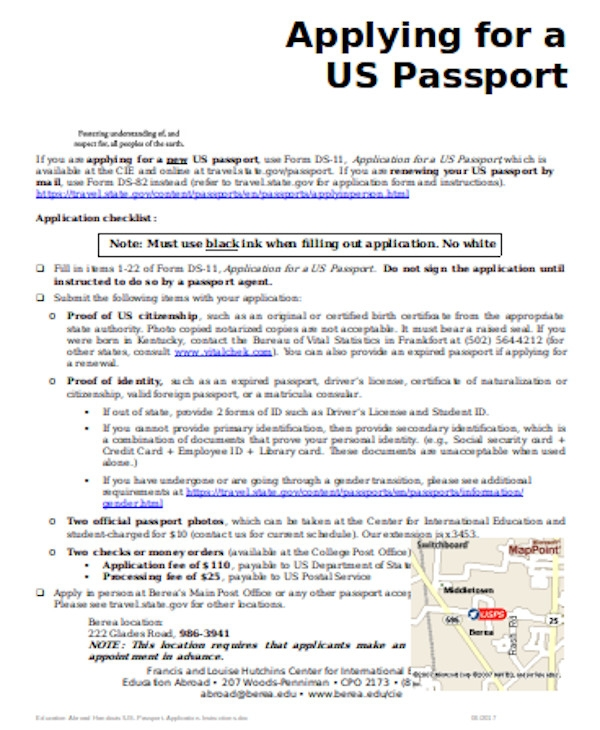 professional passport application form