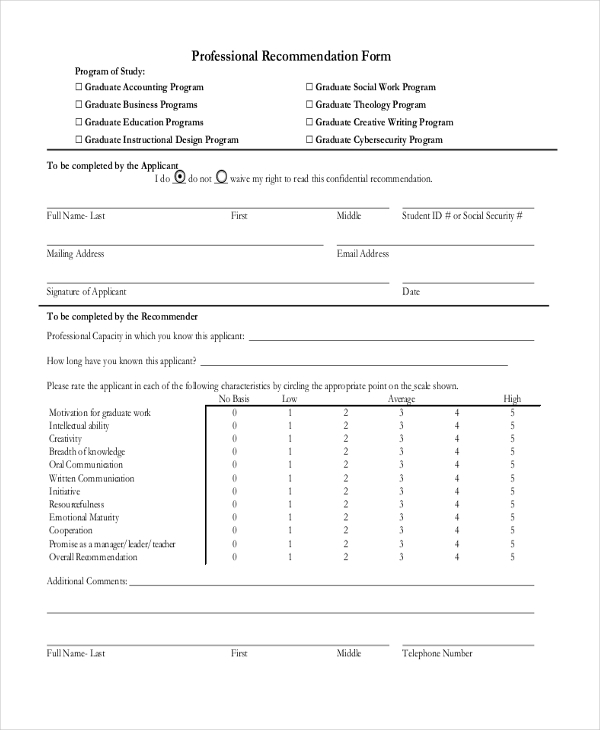 professional recommendation form format1