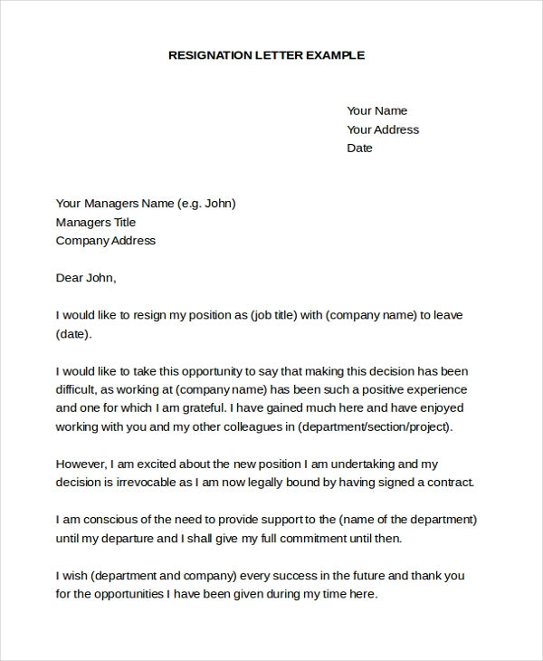 professional resignation letter sample