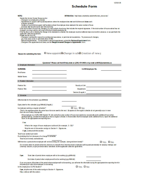 professional schedule form