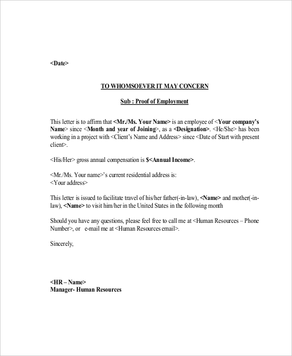 proof of employment letter example - Employment Proof Letter