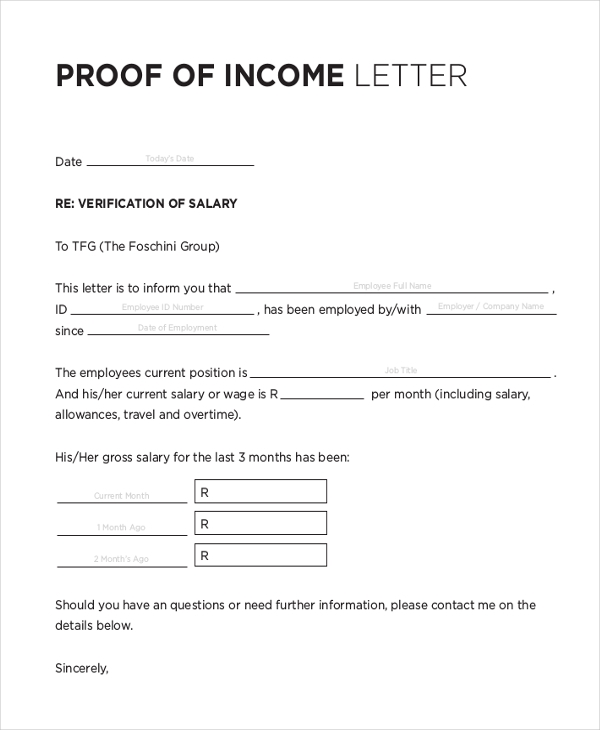 Proof Of Income Letter From Employer