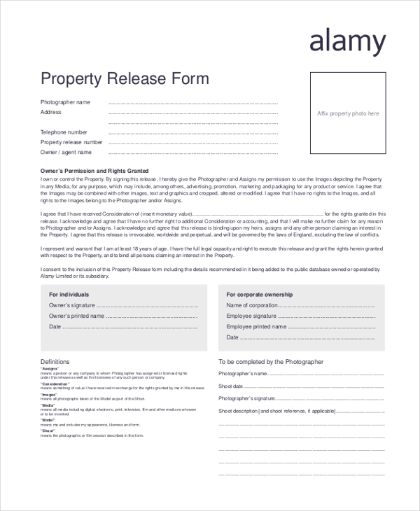 How To Fill Up The Property Release Form? - Archive