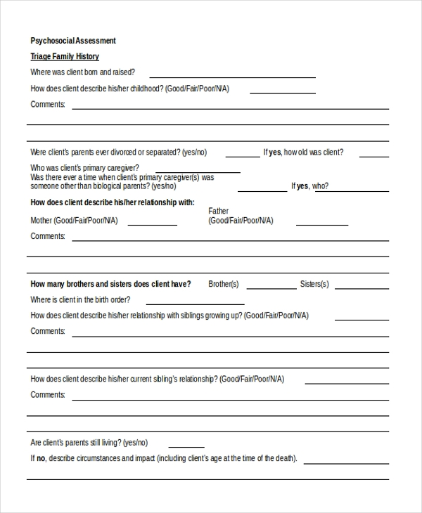 Sample Psychosocial Assessment Form   Free Documents In Doc Pdf