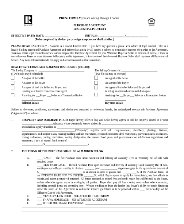 Sample Purchase Form   Free Documents In Pdf