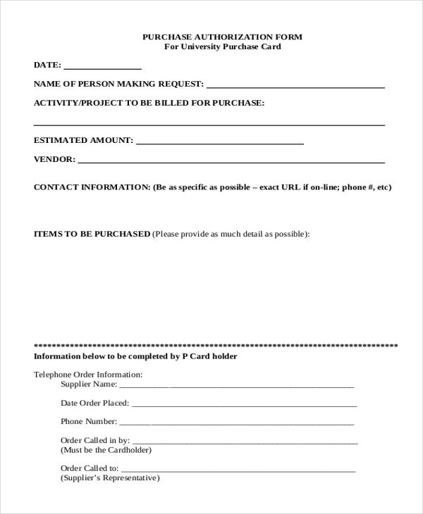 purchase authorization form