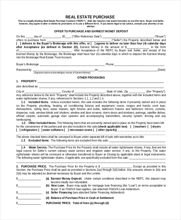 purchase real estate form