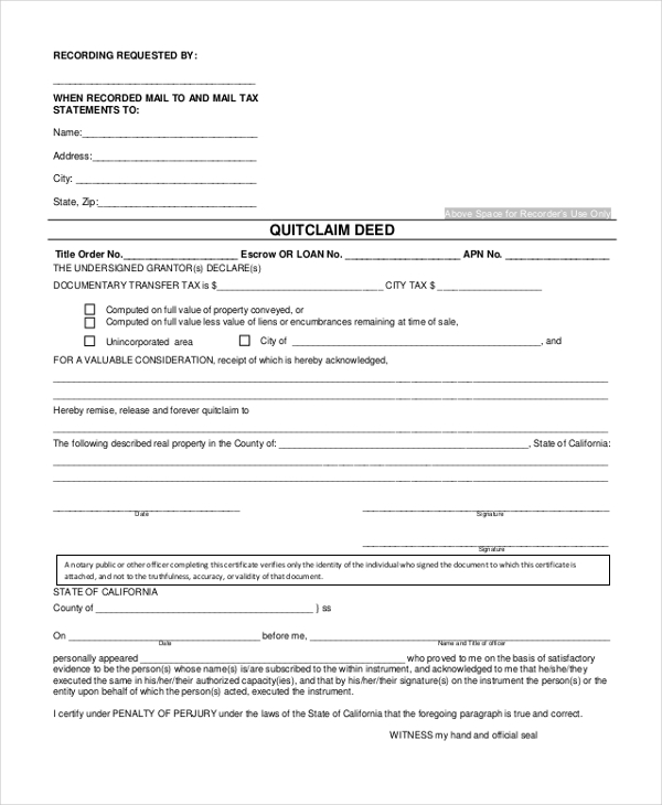 Sample Quick Claim Deed Form   Free Documents In Pdf