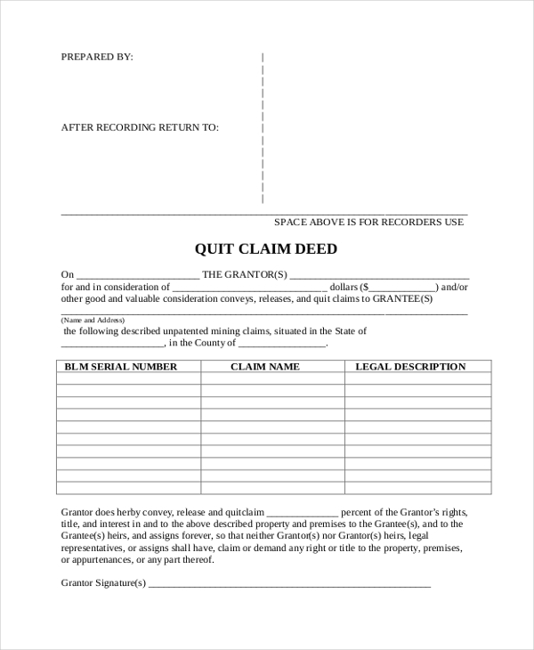 quitclaim deed example