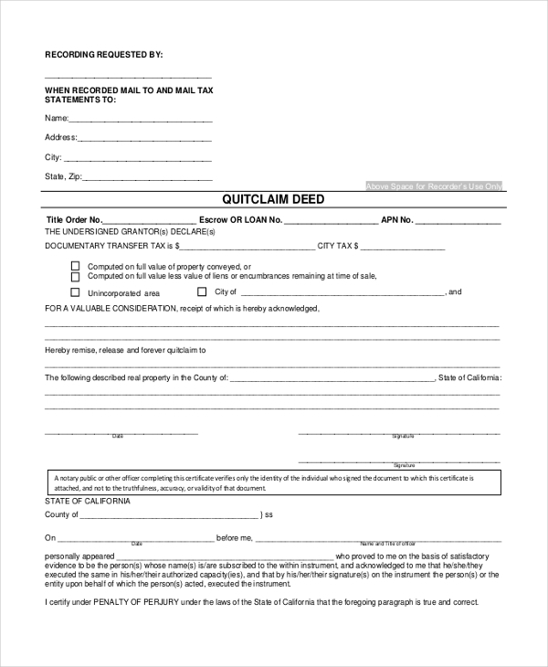 quitclaim deed form