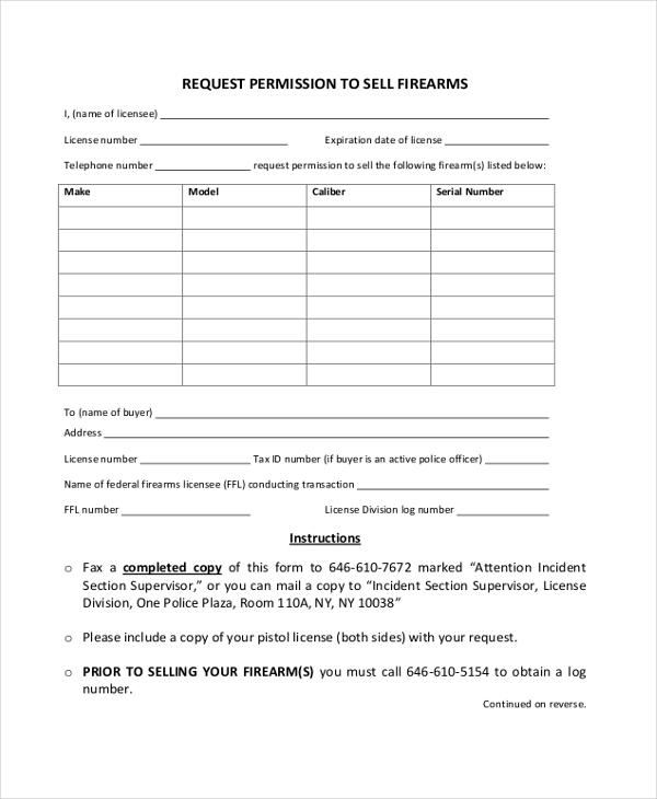 free 8  sample firearm bill of sale forms
