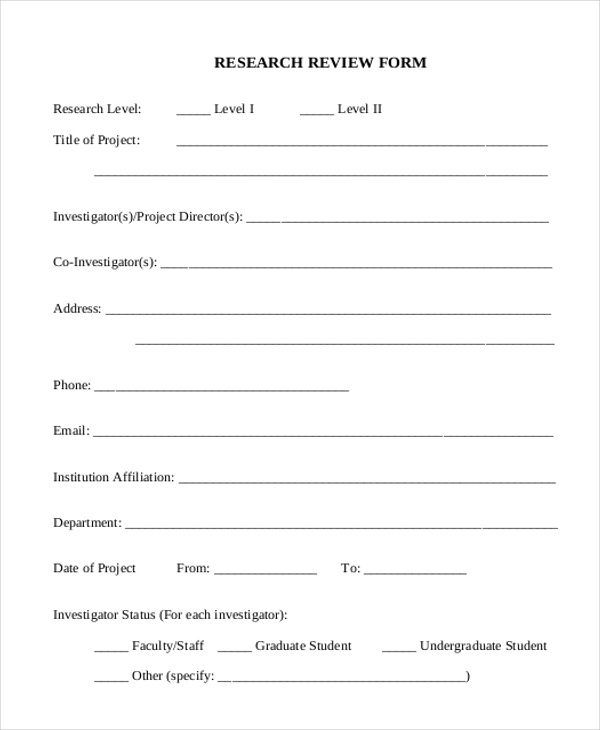 research review form