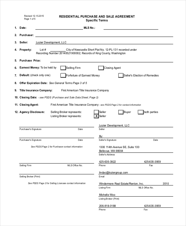 Sample Purchase And Sale Agreement Form - 11+ Free Documents In