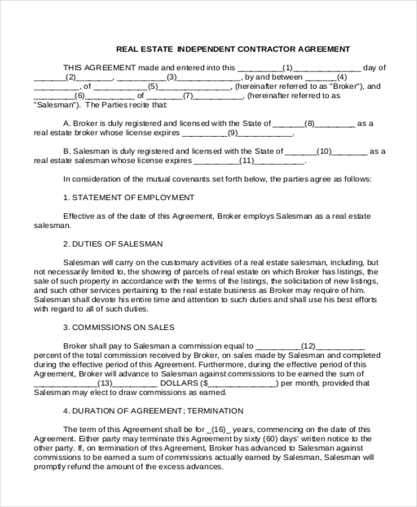 Sample Independent Contractor Agreement Form   Free Documents In
