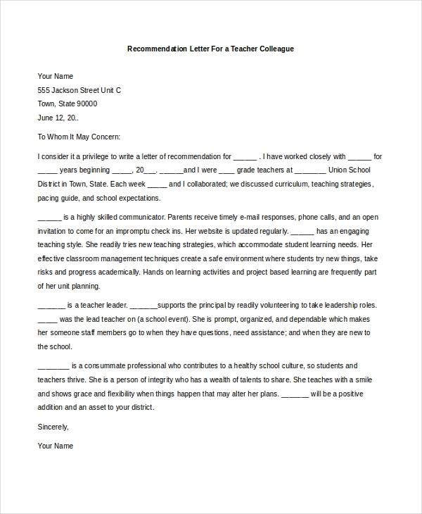recommendation letter for a teacher colleague