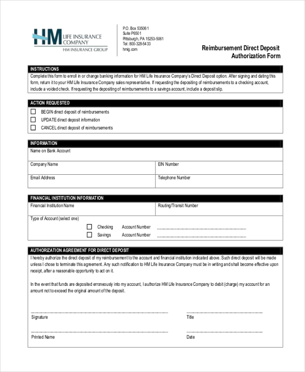 reimbursement direct deposit authorization form