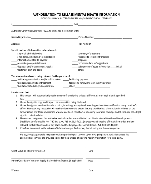 release of information form mental health