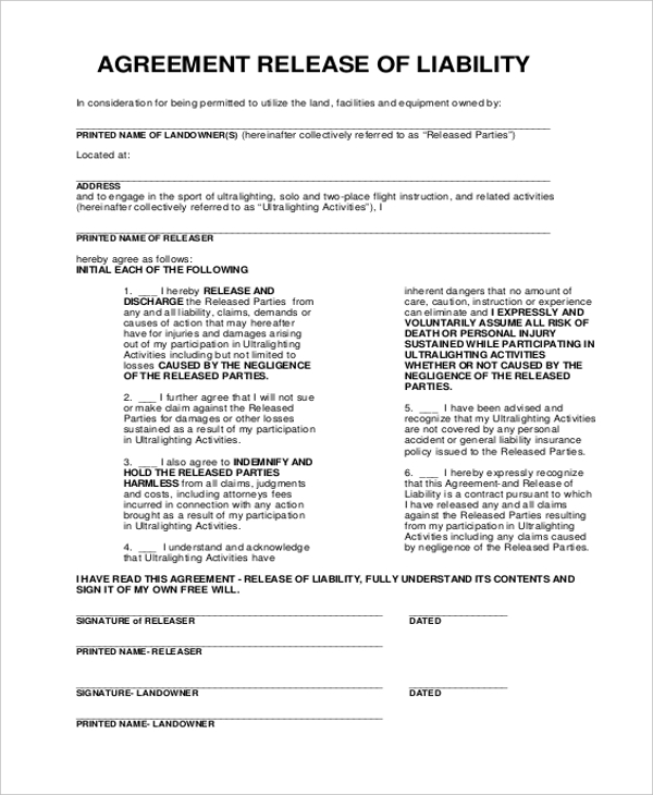 Sample Release Of Liability Form 11 Free Documents In Word Pdf