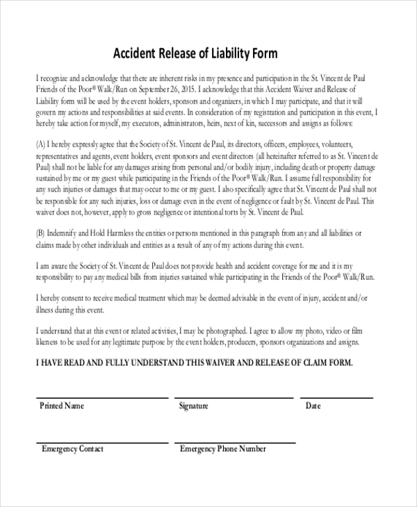 Release Of Liability Form Car Accident  Generic Release Of Liability Form