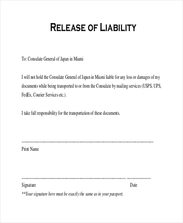 Sample release of liability form 11 free documents in for Release from liability form template