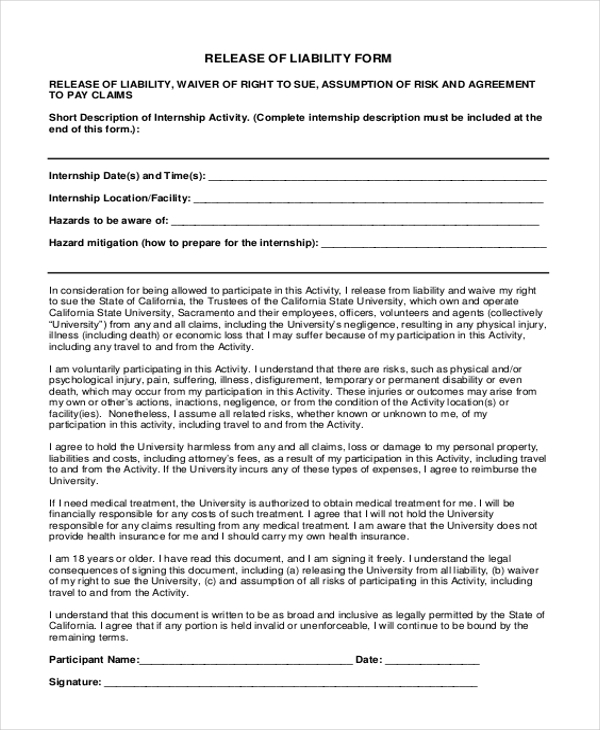 Property Damage Release Form. Sample Liability Waiver Release Form