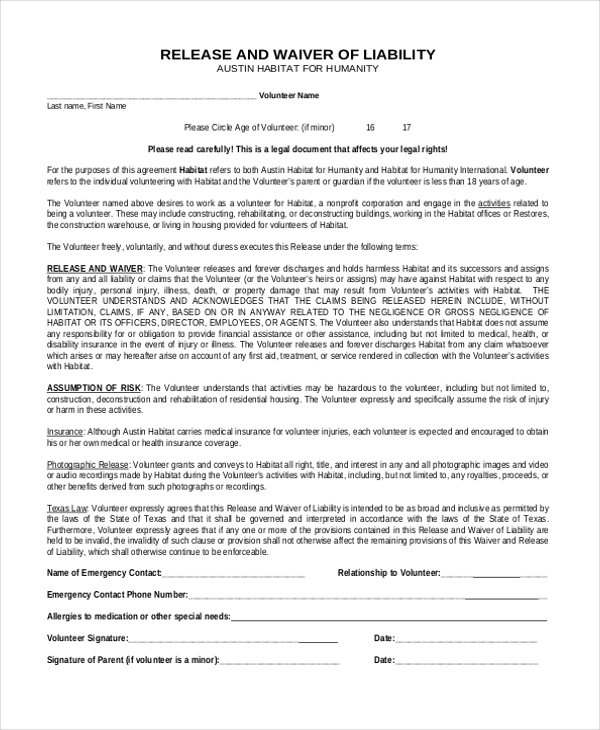 Release Of Liability Waiver  Legal Liability Waiver Form