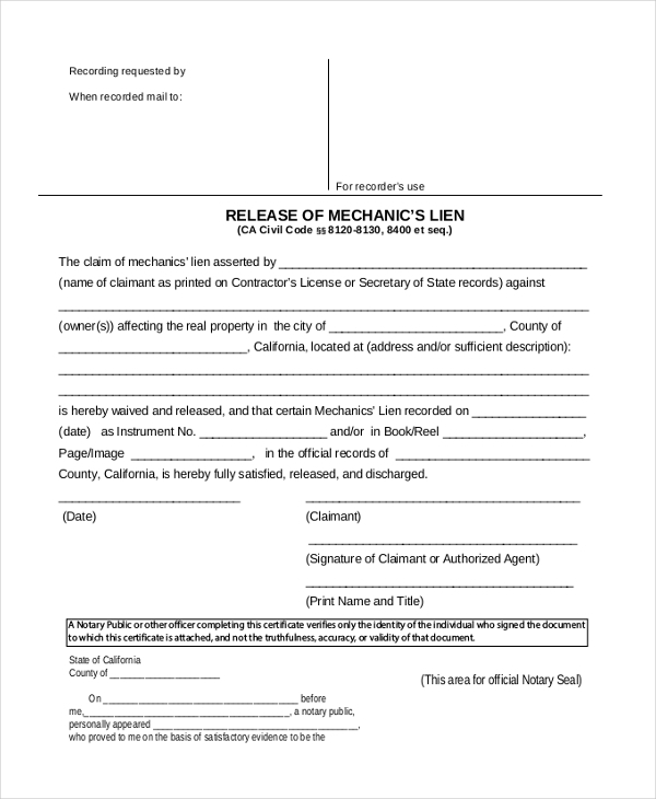 Sample Lien Release Form  Sample Ideas