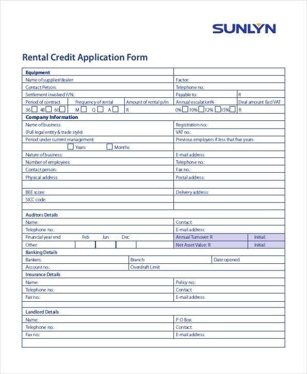 Sample Credit Application Forms  Free Sample Example Format