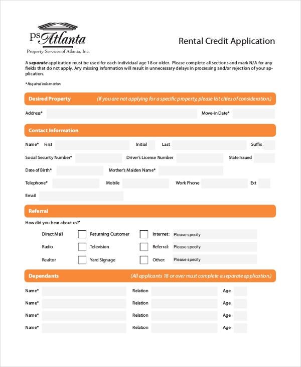 11 Sample Rental Application Forms Free Sample Example Format – Sample Credit Application Form