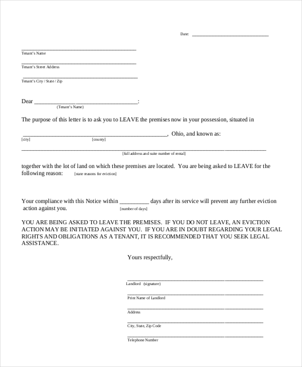 Sample Notice Form   Free Documents In Doc Pdf