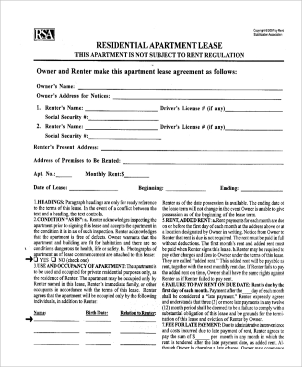 Sample Residential Lease Form   Free Documents In Doc Pdf