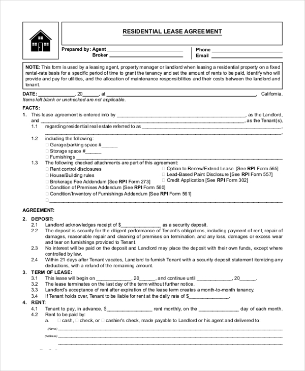 Sample Lease Agreement Form   Free Documents In Doc Pdf