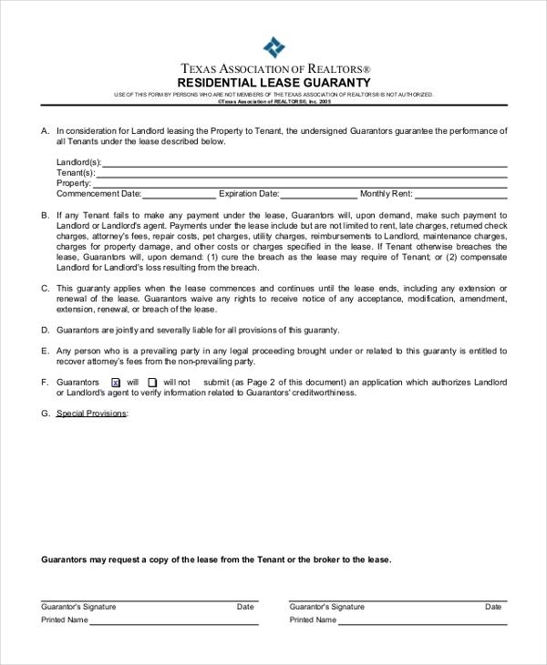 residential lease guaranty