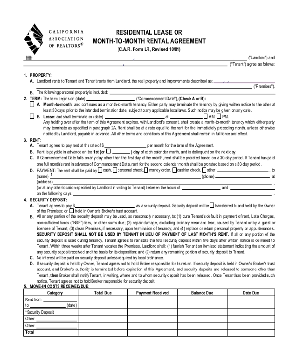 Sample Residential Lease Form - 11+ Free Documents In Doc, Pdf