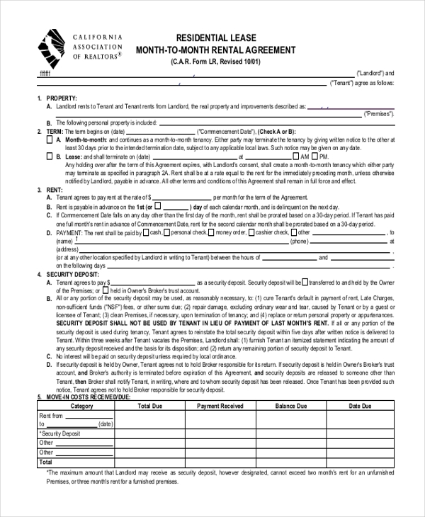 Residential Lease Month To Month Rental Agreement Form