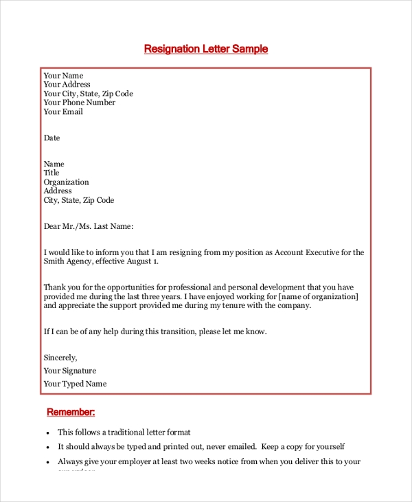 Free 9  Sample Letter Of Resignation In Ms Word