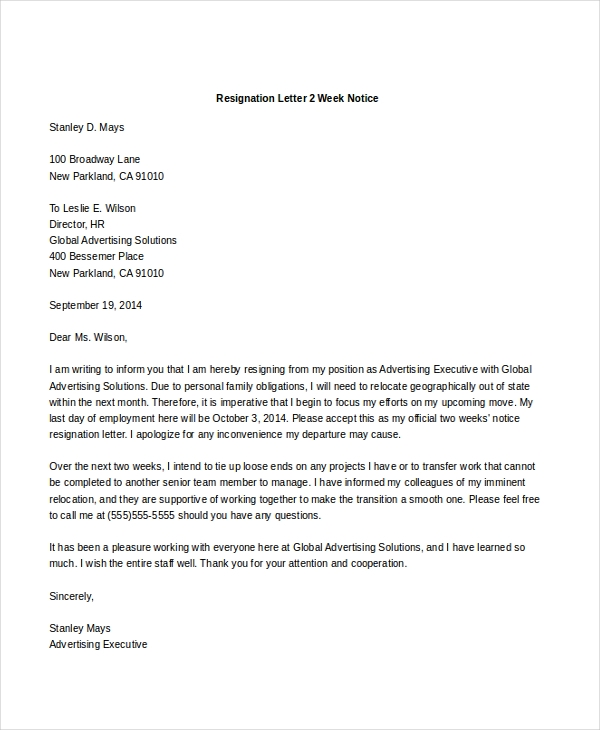 Resignation Letter 2 Week Notice  One Week Notice