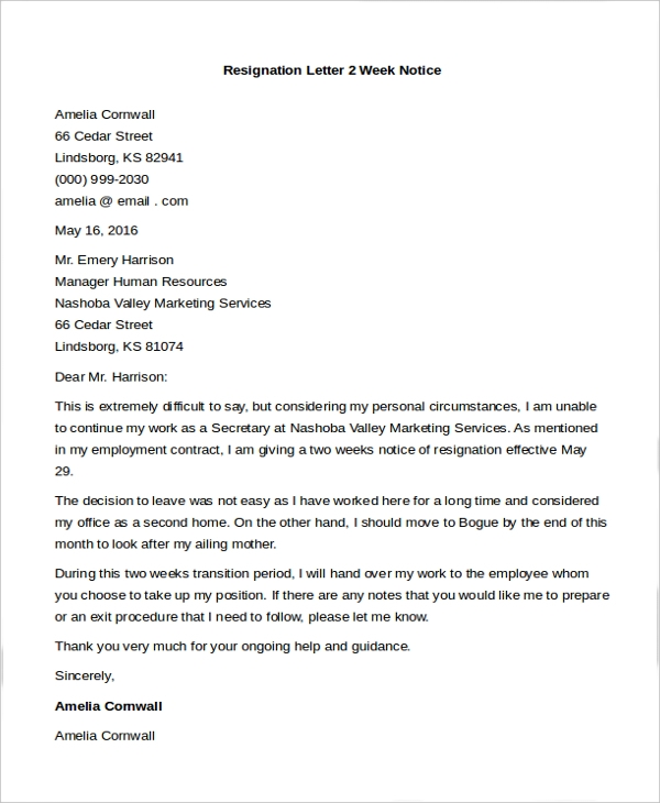Free 9 Sample Letters Of Resignation In Pdf Ms Word
