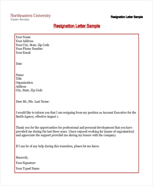 2 Weeks Notice Resignation Letter Sample