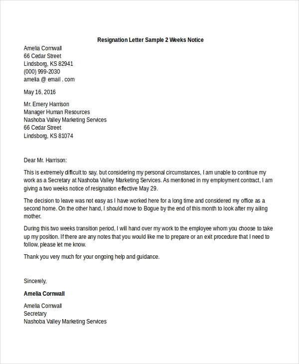 resignation letter sample 2 weeks notice2