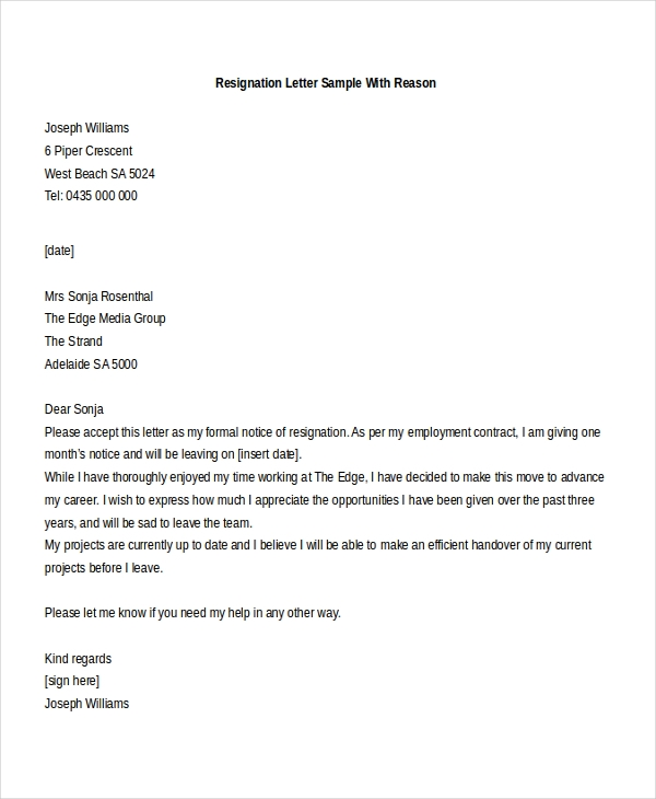 Resignation Letter Sample   Free Documents In Doc