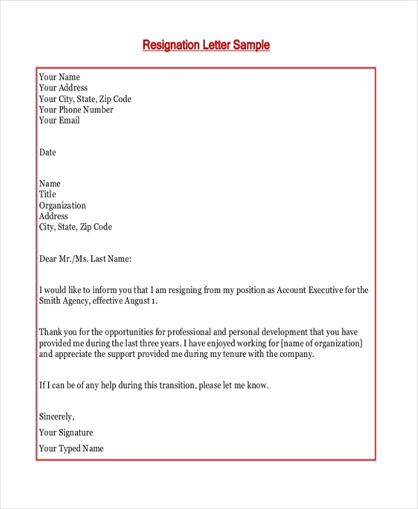 Professional Resignation Letter Format from images.sampleforms.com