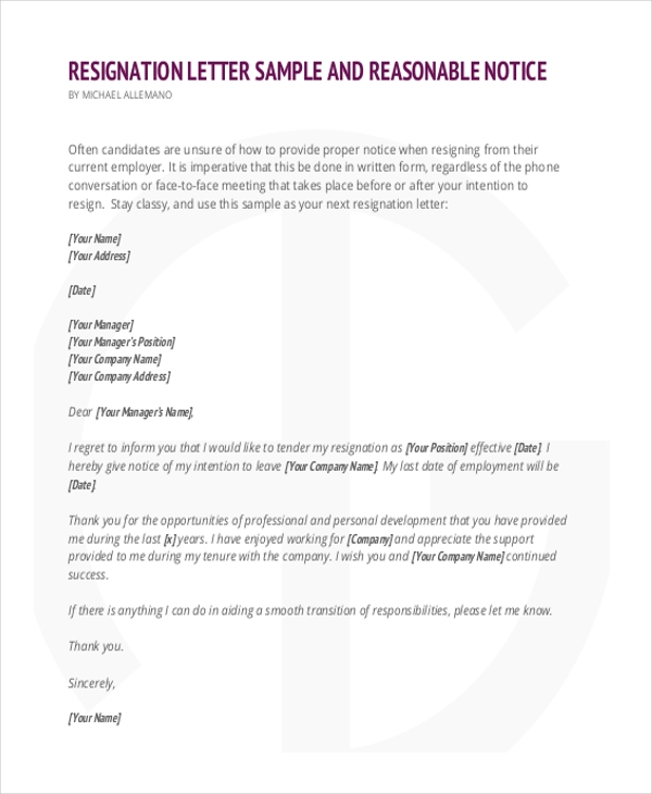 Sample Resignation Letter   Free Documents In Word Pdf