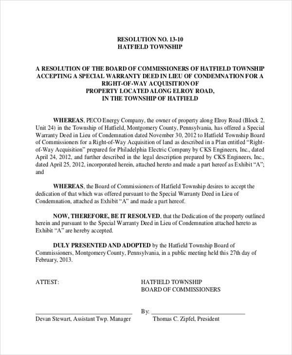 resolution accepting special warranty deed