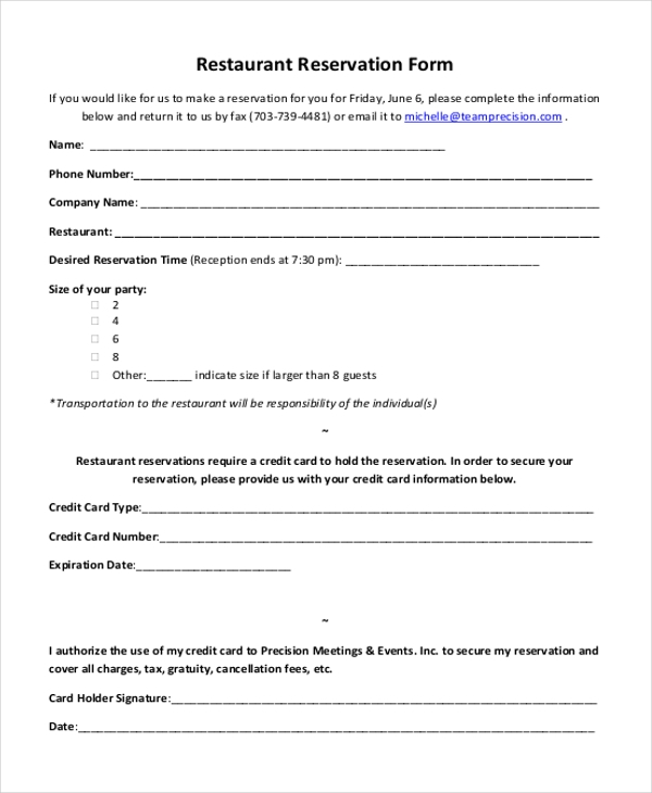 Sample Party Reservation Form   Free Documents In Pdf