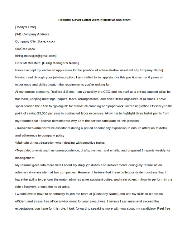 resume cover letter administrative assistant - Assistant To The Ceo Cover Letter